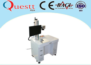 China High Speed Fiber Laser Marking Machine F-Theta Lens Benchtop With Rotate Device factory