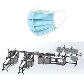 China Flat Disposable NonWoven Mask Making Machine System with 3 layer Blue Color factory