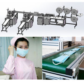 Flat Disposable Mask Machine System with 3 layer PP Nonwoven Blue Color CE Approved