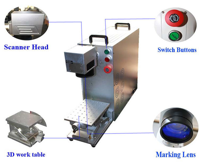 Metal Fiber Laser Marking Machine FL20 20W For SS Iron Aluminum Printing