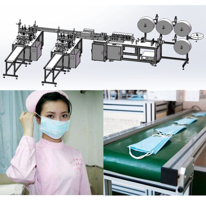 Flat Disposable NonWoven Mask Making Machine System with 3 layer Blue Color